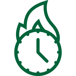 Green clock, represented with a fire icon on top signifying a deadline