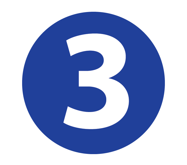 White Number 3 inside blue circle