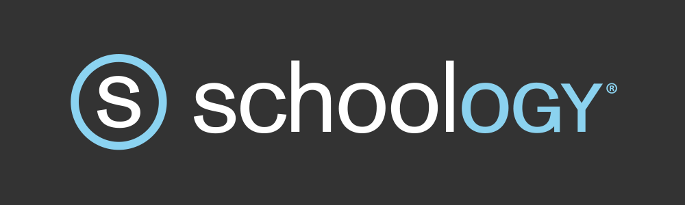 Schoology Logo, white and blue text on black