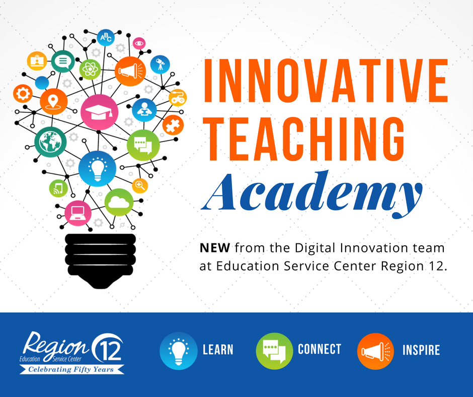 Innovative Teaching Academy Logo- Lightbulb comprised of technology icons